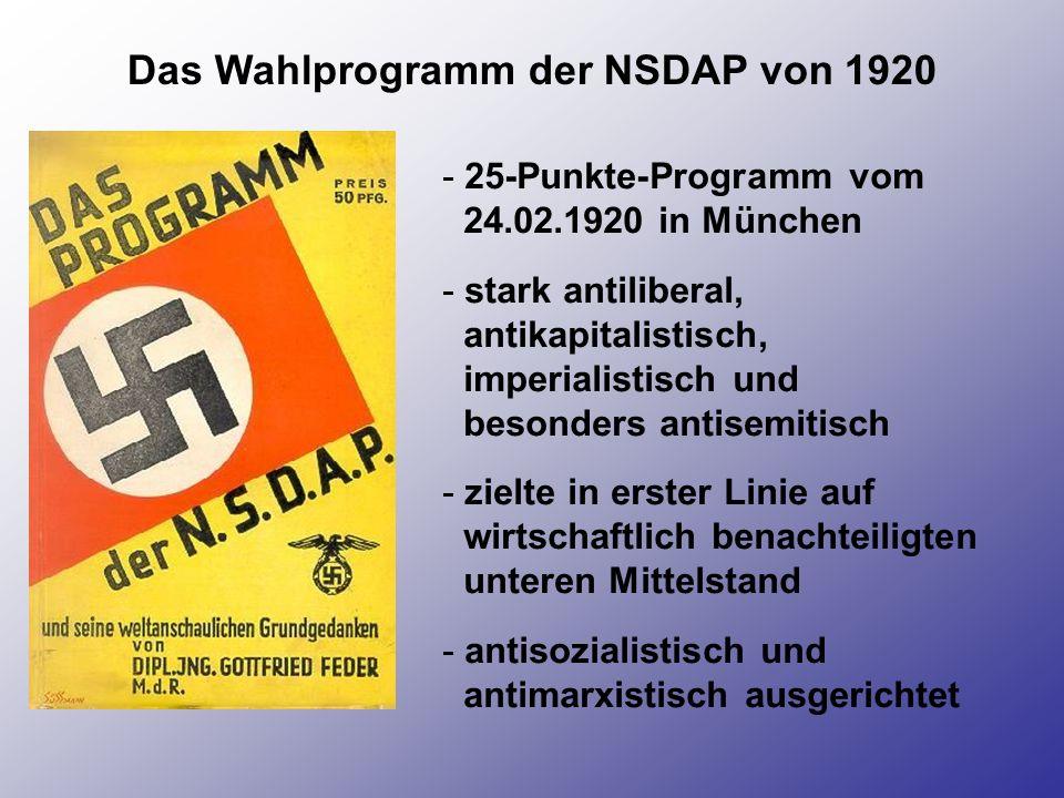 Das Wahlprogramm der NSDAP von 1920 - 25-Punkte-Programm vom 24.02.1920 in München - stark antiliberal, antikapitalistisch, imperialistisch und besond