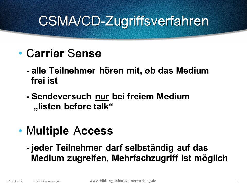 14CSMA/CD © 2001, Cisco Systems, Inc.