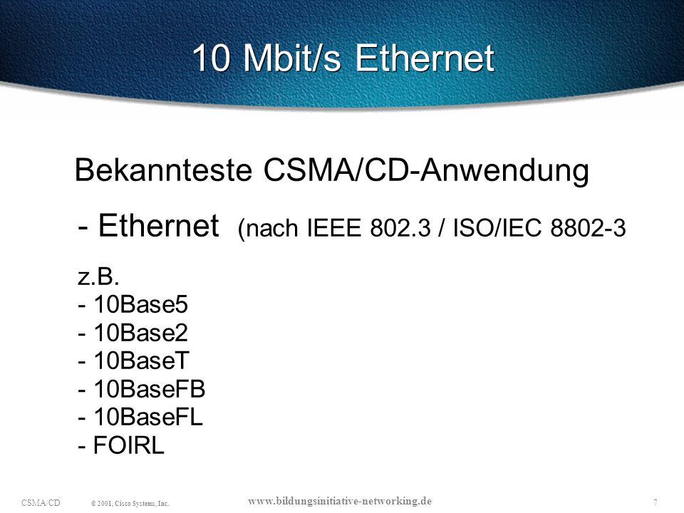 18CSMA/CD © 2001, Cisco Systems, Inc.