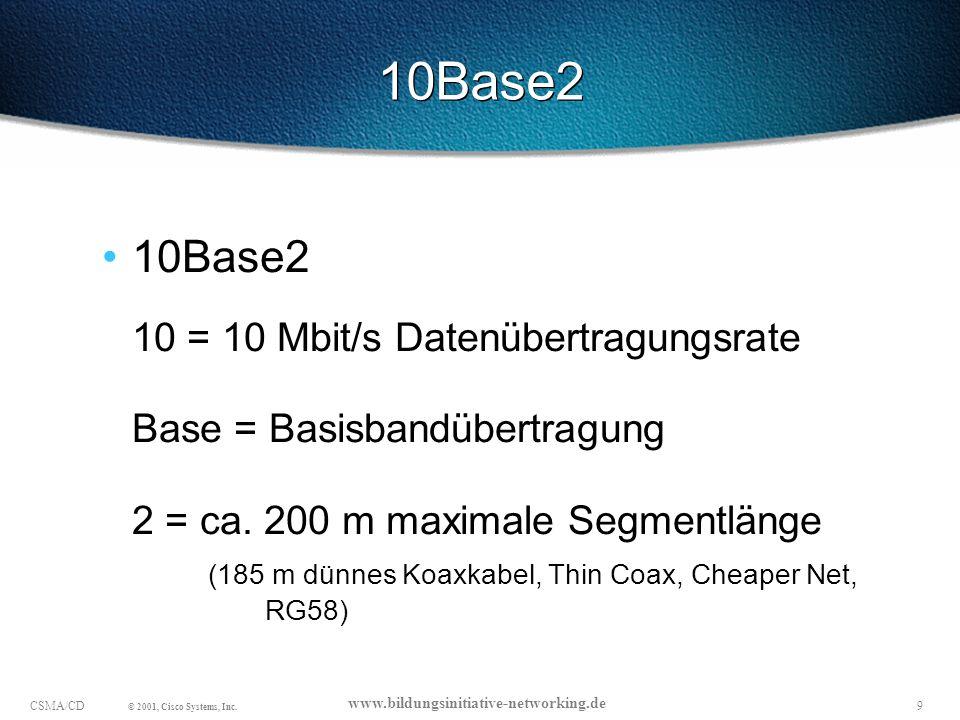 10CSMA/CD © 2001, Cisco Systems, Inc.