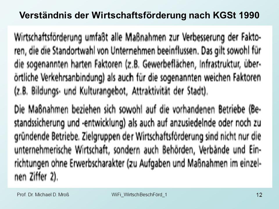 Prof. Dr. Michael D. MroßWiFi_WirtschBeschFörd_1 12 Verständnis der Wirtschaftsförderung nach KGSt 1990