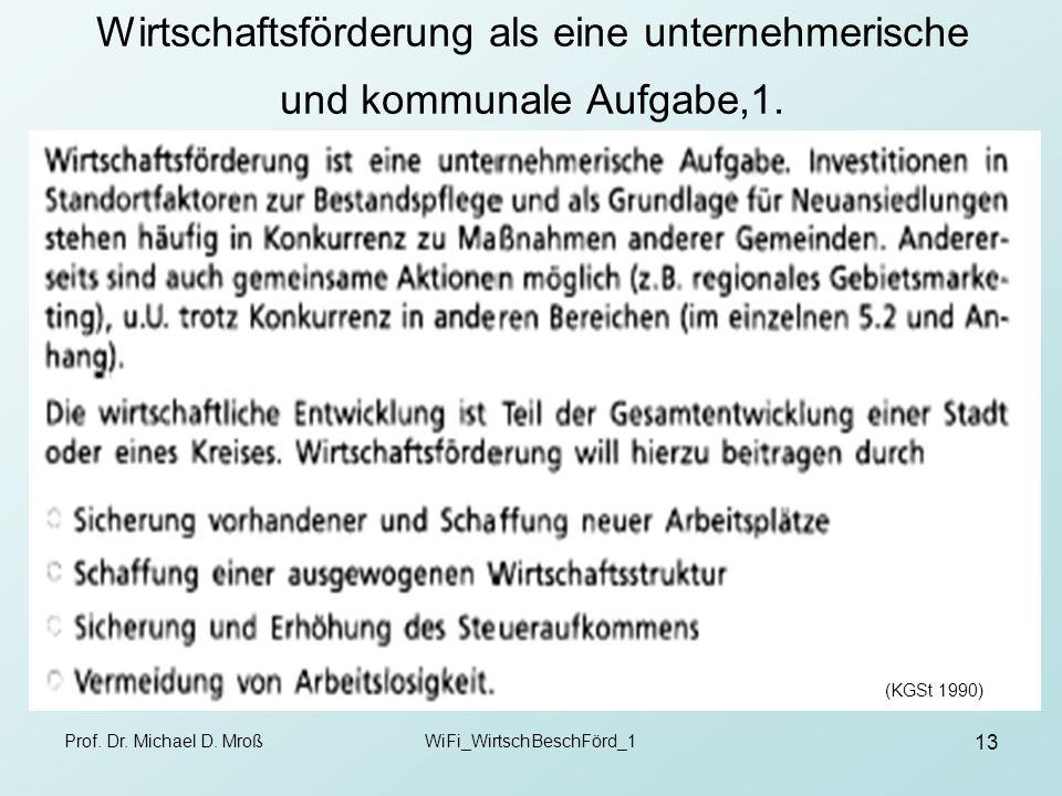 Prof. Dr. Michael D. MroßWiFi_WirtschBeschFörd_1 13 Wirtschaftsförderung als eine unternehmerische und kommunale Aufgabe,1. (KGSt 1990)