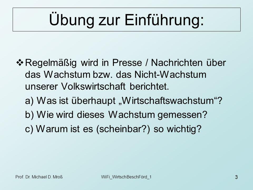 Prof. Dr. Michael D. MroßWiFi_WirtschBeschFörd_1 3 Übung zur Einführung: Regelmäßig wird in Presse / Nachrichten über das Wachstum bzw. das Nicht-Wach