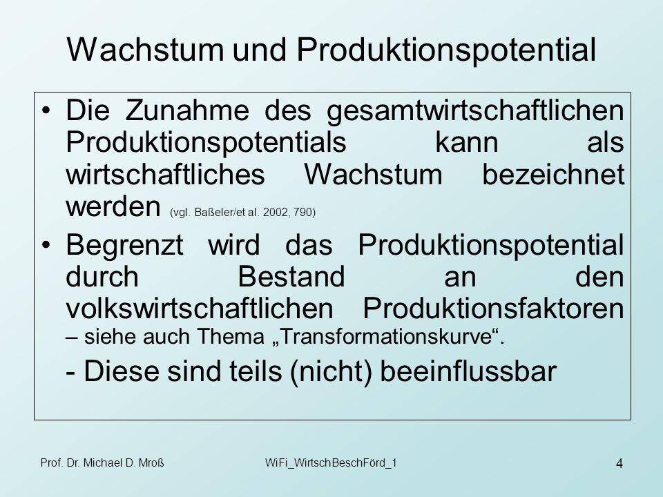 Prof. Dr. Michael D. MroßWiFi_WirtschBeschFörd_1 4 Wachstum und Produktionspotential Die Zunahme des gesamtwirtschaftlichen Produktionspotentials kann