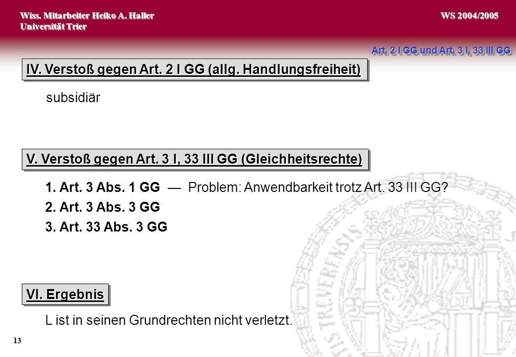 Wiss.Mitarbeiter Heiko A. Haller Universität Trier 13 WS 2004/2005 IV.