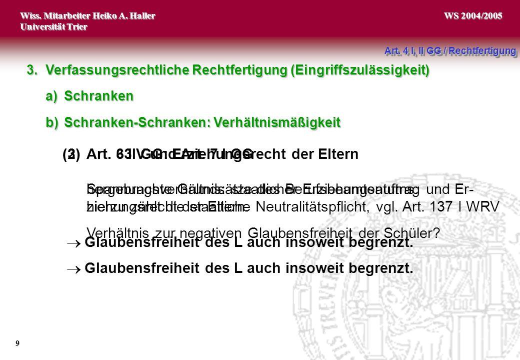 Wiss.Mitarbeiter Heiko A. Haller Universität Trier 9 WS 2004/2005 (3)Art.