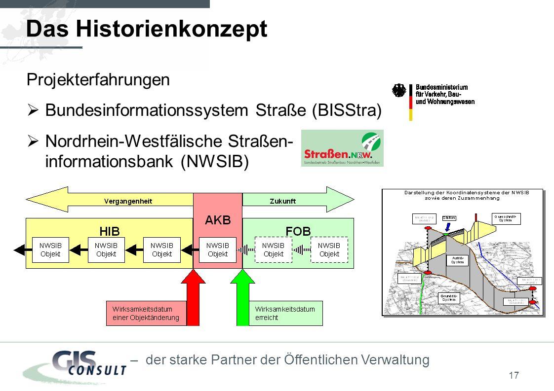 17 – der starke Partner der Öffentlichen Verwaltung Projekterfahrungen Bundesinformationssystem Straße (BISStra) Nordrhein-Westfälische Straßen- informationsbank (NWSIB) Das Historienkonzept