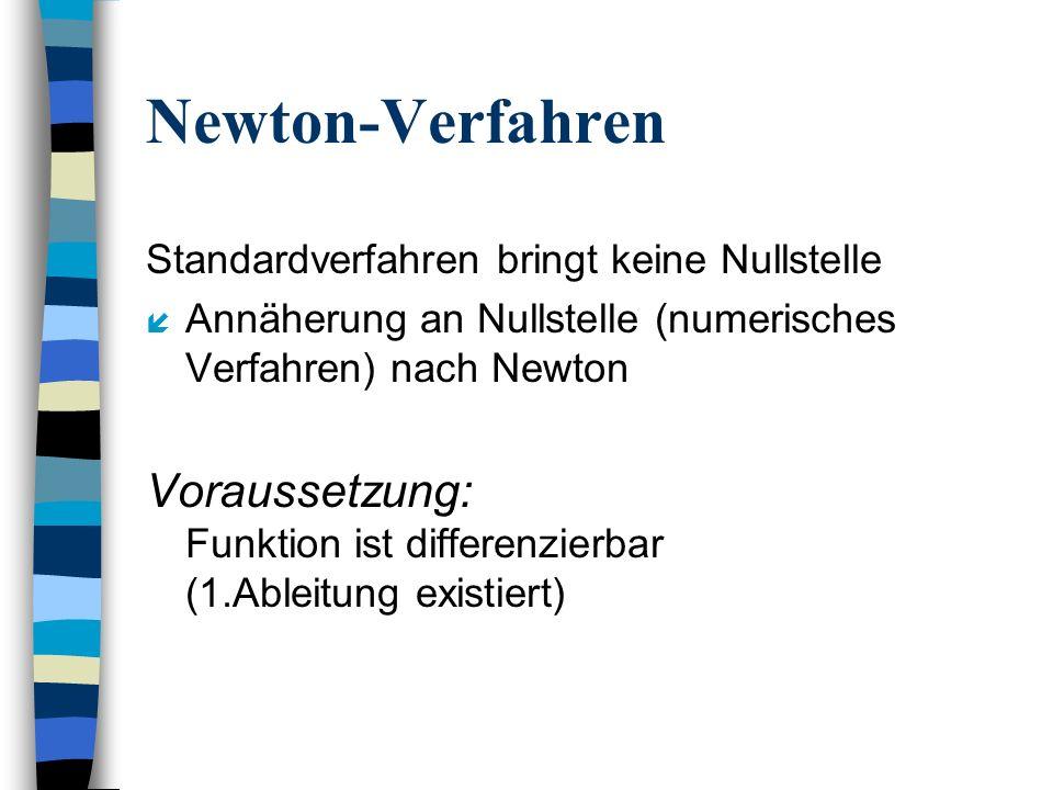 Newton-Verfahren Standardverfahren bringt keine Nullstelle í Annäherung an Nullstelle (numerisches Verfahren) nach Newton Voraussetzung: Funktion ist