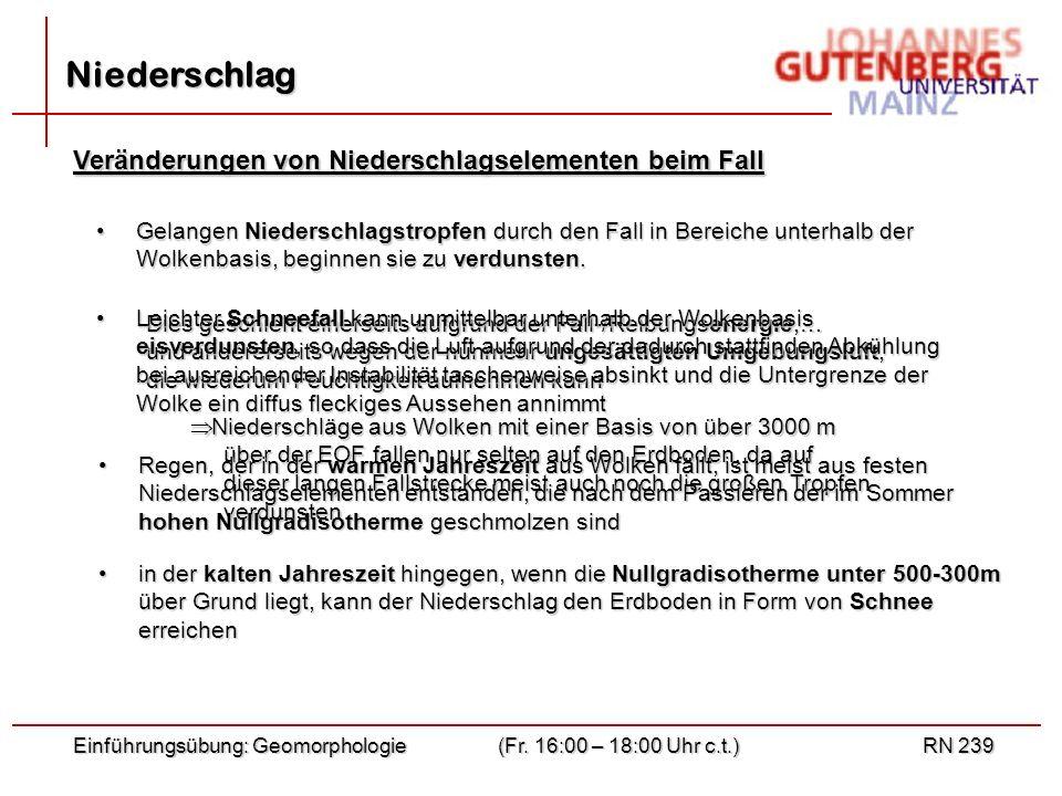 Einführungsübung: Geomorphologie(Fr. 16:00 – 18:00 Uhr c.t.)RN 239 Niederschlag Veränderungen von Niederschlagselementen beim Fall Gelangen Niederschl