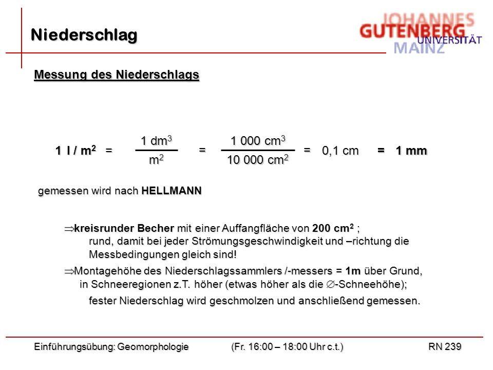 Einführungsübung: Geomorphologie(Fr. 16:00 – 18:00 Uhr c.t.)RN 239 Niederschlag l / m 2 1= 0,1 cm 1 mm == = 1 dm 3 m2m2m2m2 1 000 cm 3 10 000 cm 2 Mes