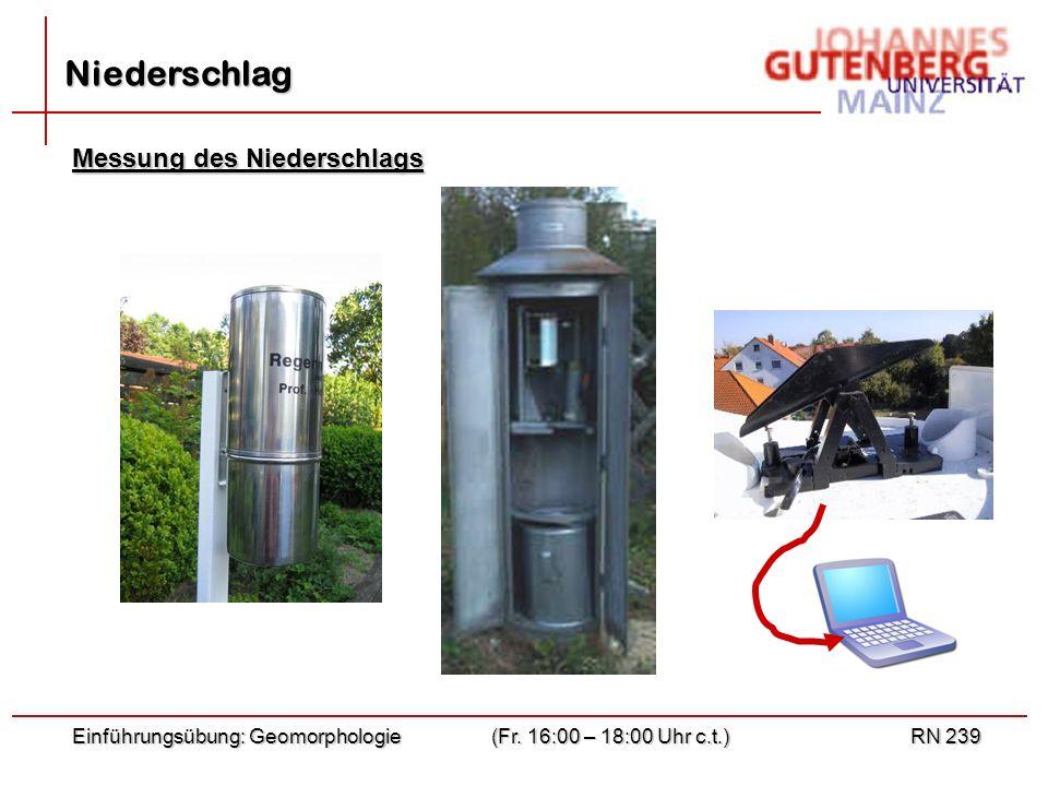 Einführungsübung: Geomorphologie(Fr. 16:00 – 18:00 Uhr c.t.)RN 239 Niederschlag Messung des Niederschlags
