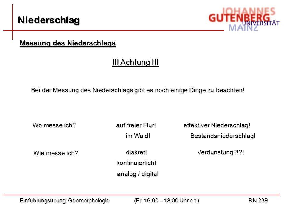Einführungsübung: Geomorphologie(Fr. 16:00 – 18:00 Uhr c.t.)RN 239 Niederschlag Messung des Niederschlags !!! Achtung !!! Bei der Messung des Niedersc