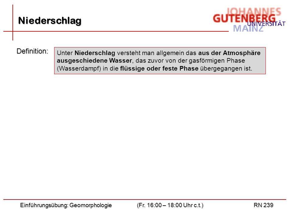 Einführungsübung: Geomorphologie(Fr. 16:00 – 18:00 Uhr c.t.)RN 239 Niederschlag Definition: Unter Niederschlag versteht man allgemein das aus der Atmo