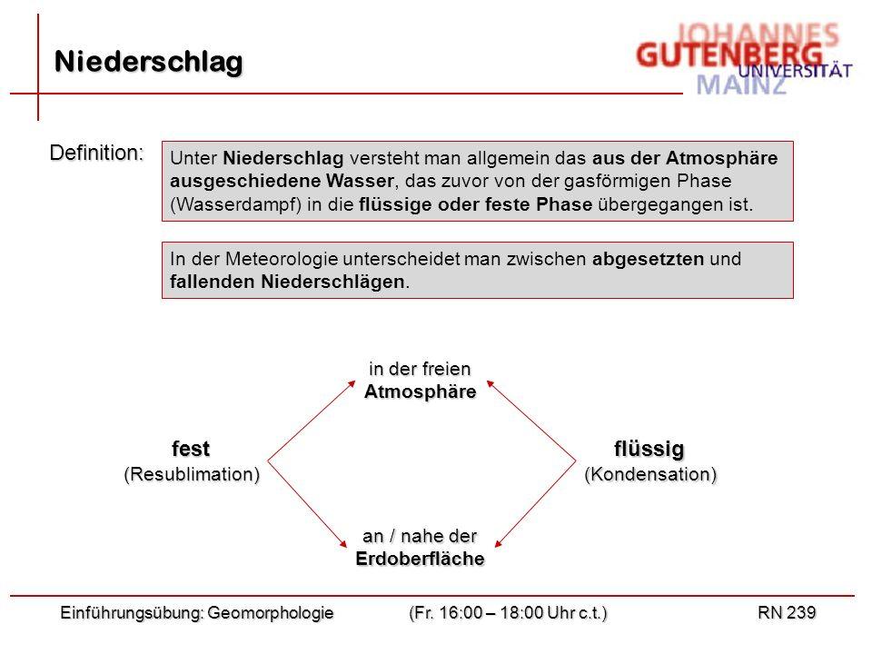 Einführungsübung: Geomorphologie(Fr. 16:00 – 18:00 Uhr c.t.)RN 239 Niederschlag In der Meteorologie unterscheidet man zwischen abgesetzten und fallend