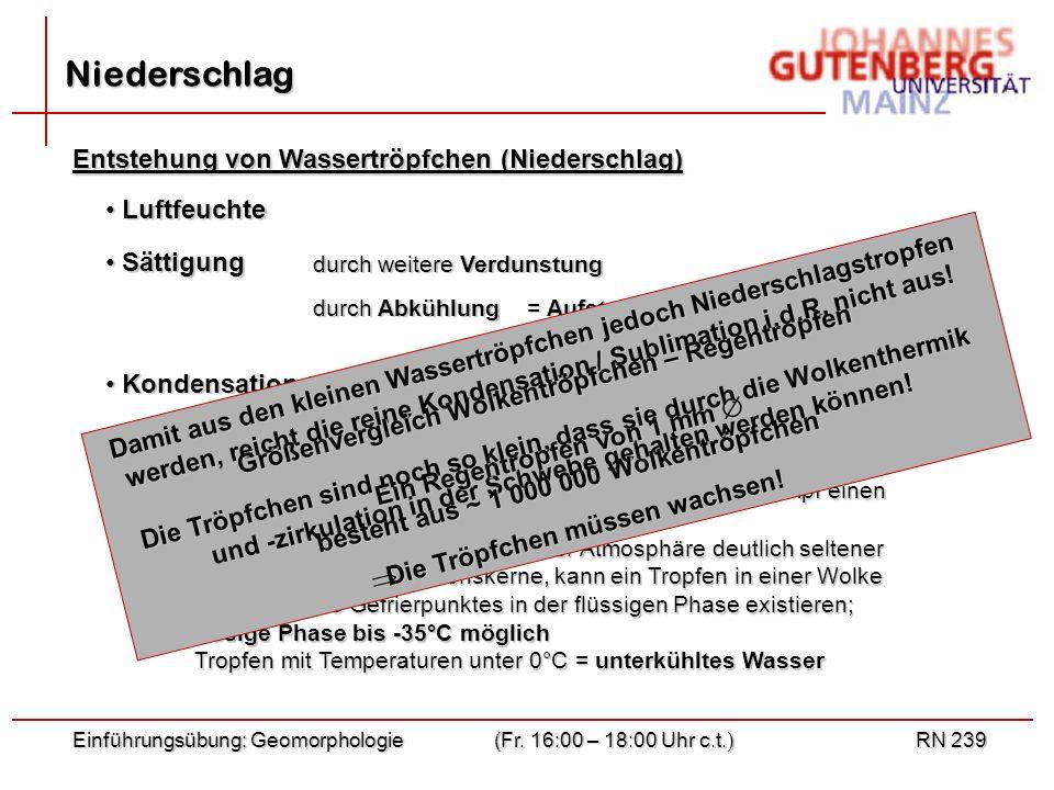 Einführungsübung: Geomorphologie(Fr. 16:00 – 18:00 Uhr c.t.)RN 239 Niederschlag Entstehung von Wassertröpfchen (Niederschlag) Luftfeuchte Luftfeuchte