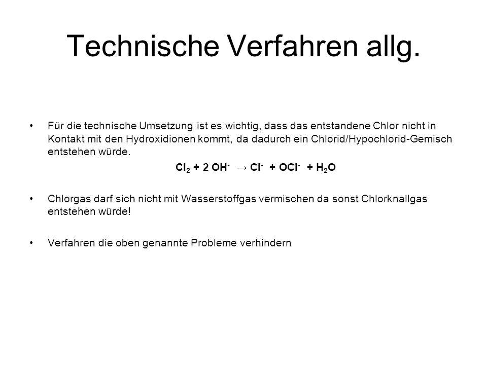 Technische Verfahren allg. Für die technische Umsetzung ist es wichtig, dass das entstandene Chlor nicht in Kontakt mit den Hydroxidionen kommt, da da