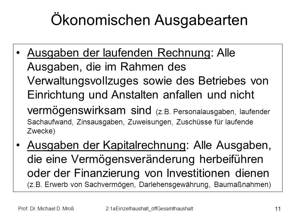 Prof. Dr. Michael D. Mroß2.1aEinzelhaushalt_öffGesamthaushalt 11 Ökonomischen Ausgabearten Ausgaben der laufenden Rechnung: Alle Ausgaben, die im Rahm