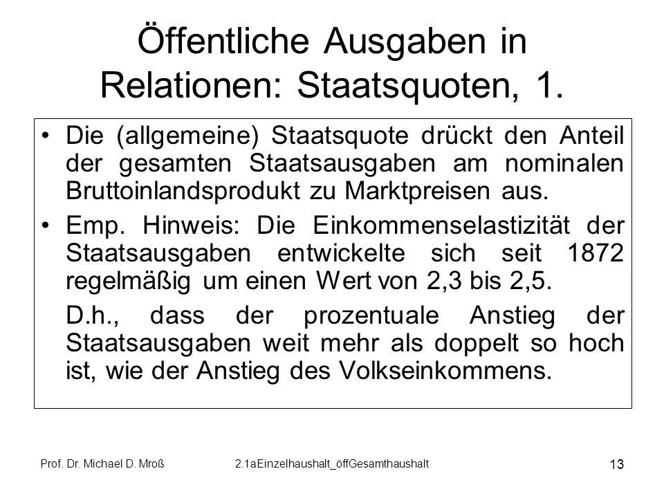 Prof. Dr. Michael D. Mroß2.1aEinzelhaushalt_öffGesamthaushalt 13 Öffentliche Ausgaben in Relationen: Staatsquoten, 1. Die (allgemeine) Staatsquote drü