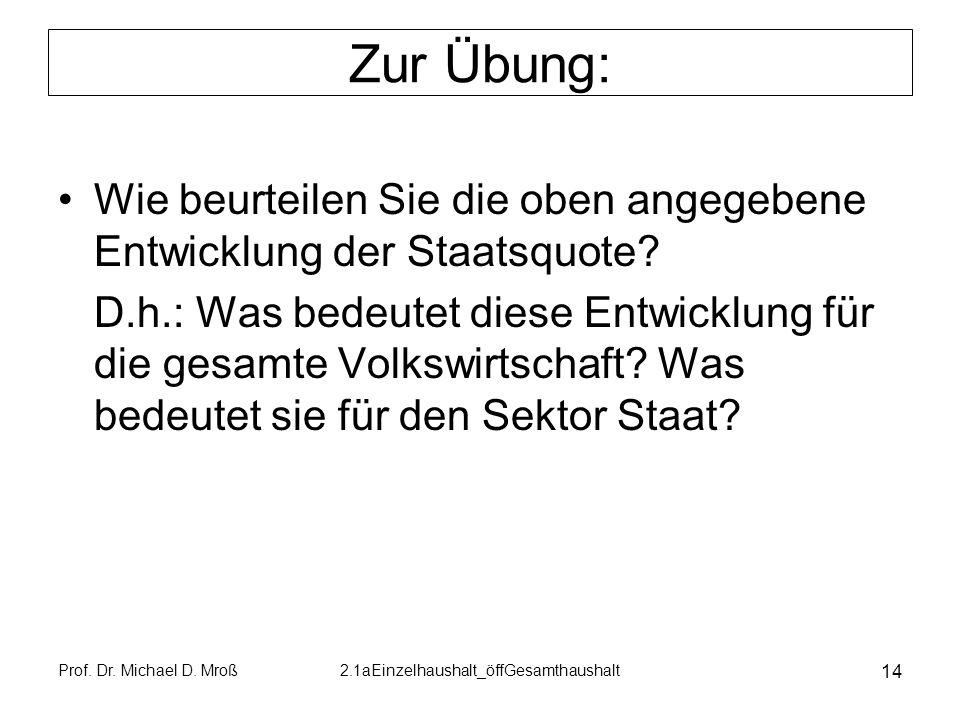 Prof. Dr. Michael D. Mroß2.1aEinzelhaushalt_öffGesamthaushalt 14 Zur Übung: Wie beurteilen Sie die oben angegebene Entwicklung der Staatsquote? D.h.:
