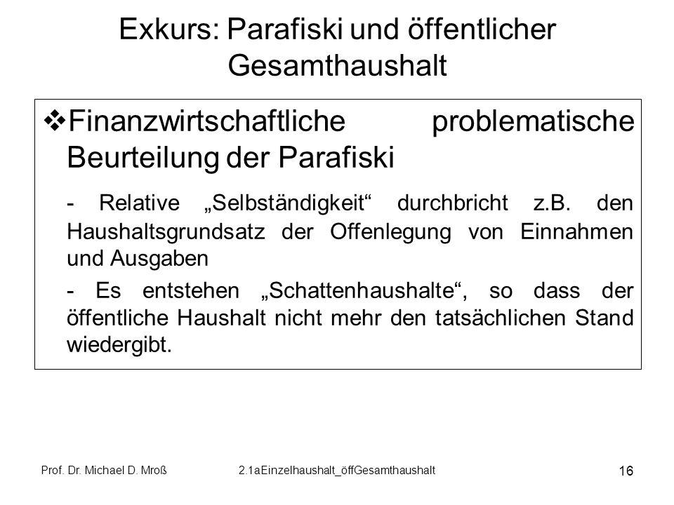 Prof. Dr. Michael D. Mroß2.1aEinzelhaushalt_öffGesamthaushalt 16 Exkurs: Parafiski und öffentlicher Gesamthaushalt Finanzwirtschaftliche problematisch