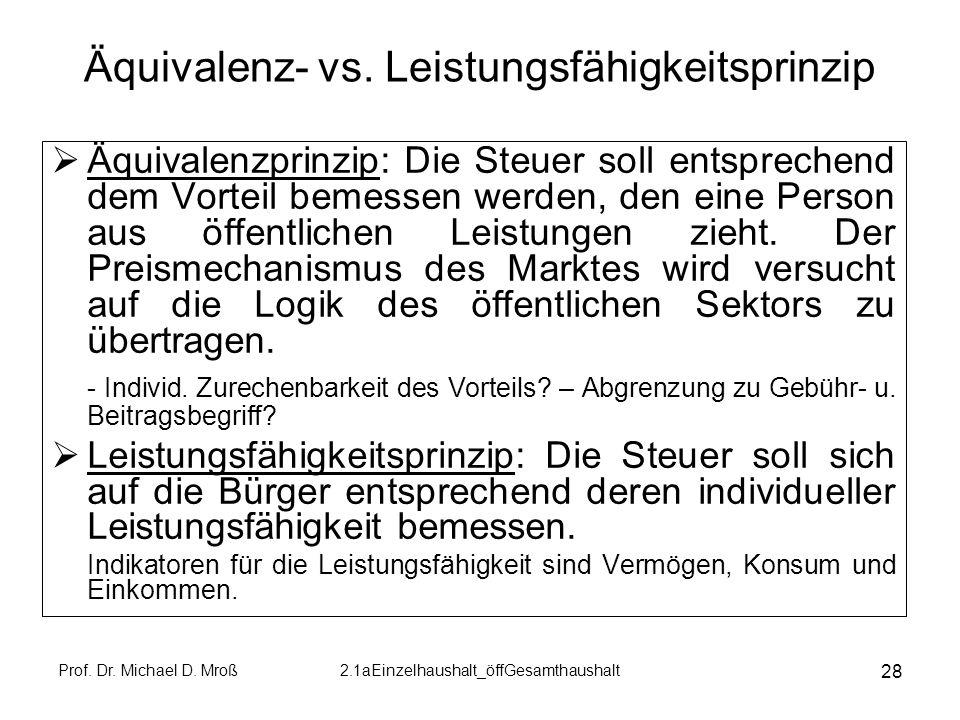 Prof. Dr. Michael D. Mroß2.1aEinzelhaushalt_öffGesamthaushalt 28 Äquivalenz- vs. Leistungsfähigkeitsprinzip Äquivalenzprinzip: Die Steuer soll entspre