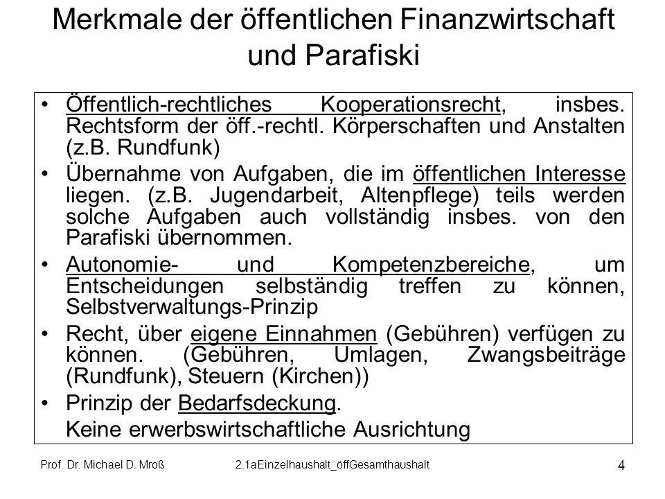Prof. Dr. Michael D. Mroß2.1aEinzelhaushalt_öffGesamthaushalt 4 Merkmale der öffentlichen Finanzwirtschaft und Parafiski Öffentlich-rechtliches Kooper