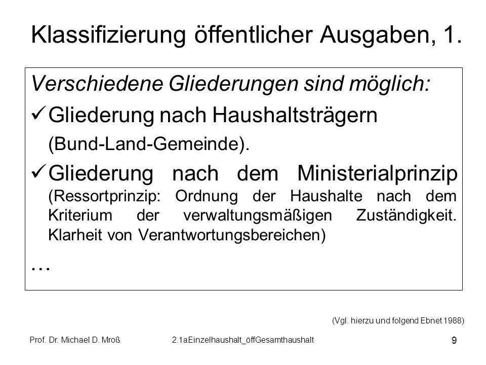 Prof. Dr. Michael D. Mroß2.1aEinzelhaushalt_öffGesamthaushalt 9 Klassifizierung öffentlicher Ausgaben, 1. Verschiedene Gliederungen sind möglich: Glie