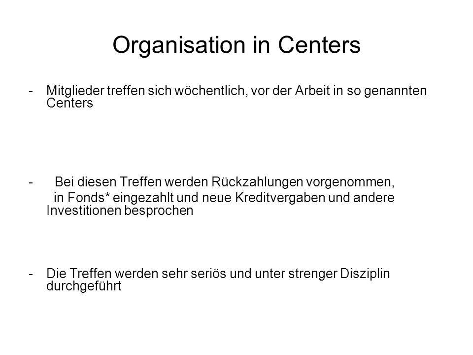 Organisation in Centers -Mitglieder treffen sich wöchentlich, vor der Arbeit in so genannten Centers - Bei diesen Treffen werden Rückzahlungen vorgeno