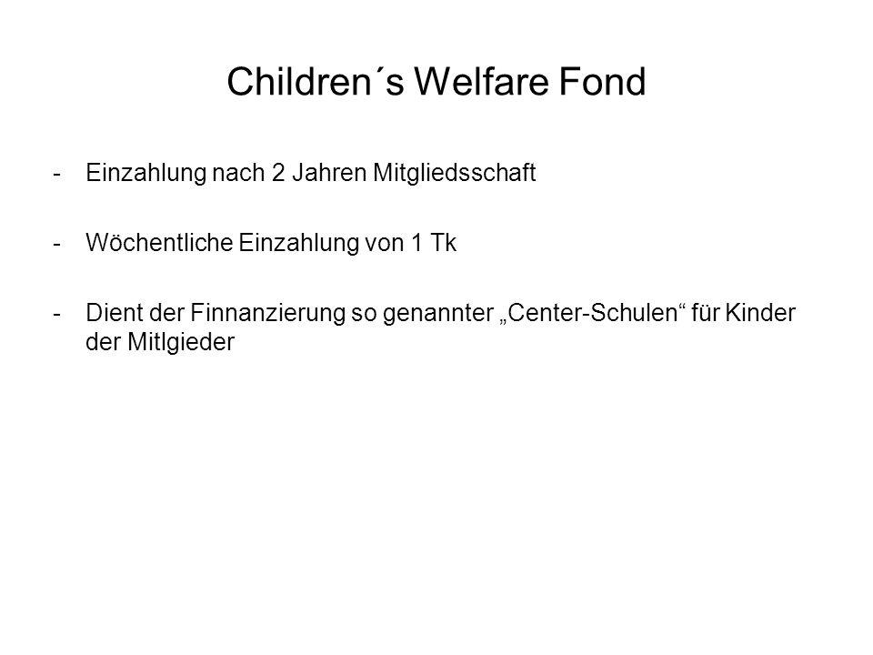 Children´s Welfare Fond -Einzahlung nach 2 Jahren Mitgliedsschaft -Wöchentliche Einzahlung von 1 Tk -Dient der Finnanzierung so genannter Center-Schul
