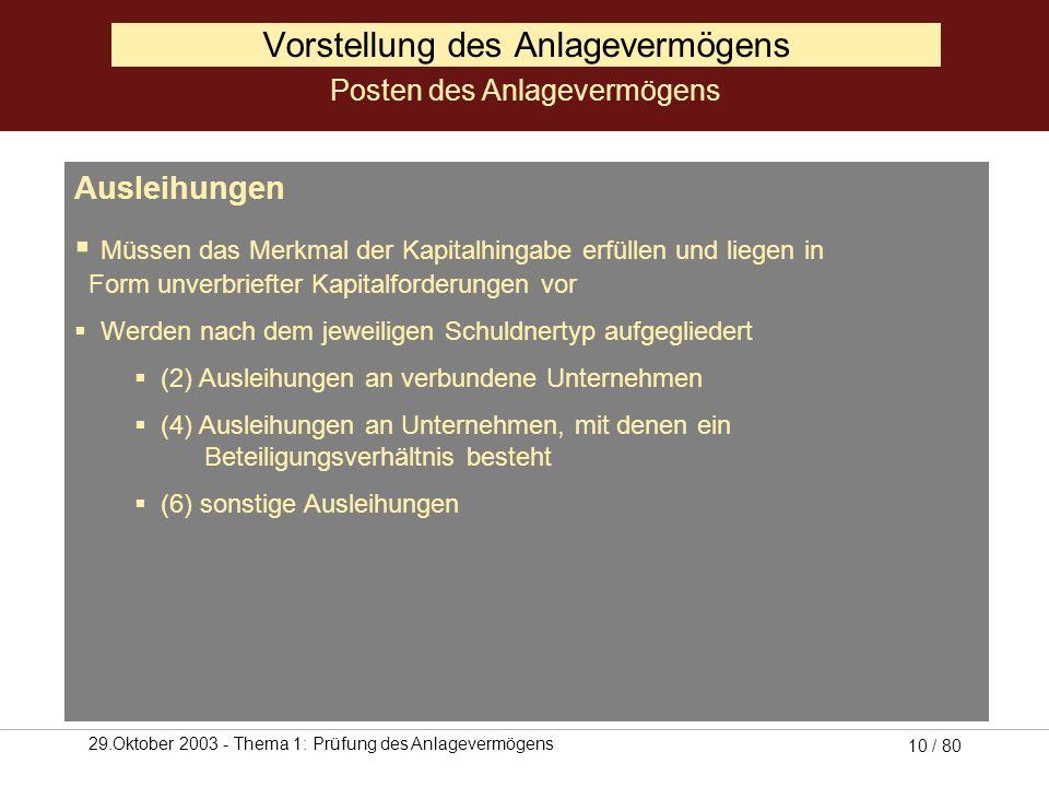 29.Oktober 2003 - Thema 1: Prüfung des Anlagevermögens 9 / 80 III. Finanzanlagen 1. Anteile an verbunden Unternehmen 2. Ausleihungen an verbunden Unte