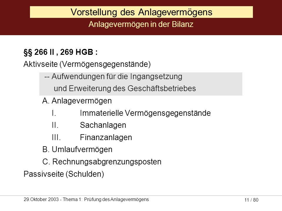 29.Oktober 2003 - Thema 1: Prüfung des Anlagevermögens 10 / 80 (Quelle: Coenenberg, 2001, S. 162) Vorstellung des Anlagevermögens Posten des Anlagever