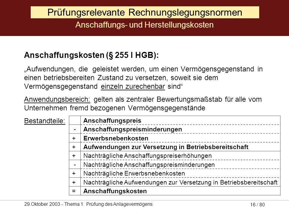 29.Oktober 2003 - Thema 1: Prüfung des Anlagevermögens 15 / 80 Prüfungsrelevante Rechnungslegungsnormen Anschaffungs- und Herstellungskosten (Quelle: