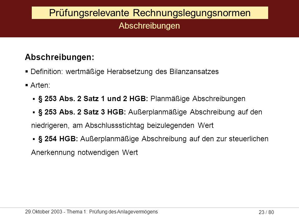29.Oktober 2003 - Thema 1: Prüfung des Anlagevermögens 22 / 80 Prüfungsrelevante Rechnungslegungsnormen Abschreibungen (Quelle: Selchert, 1999, S. 38)