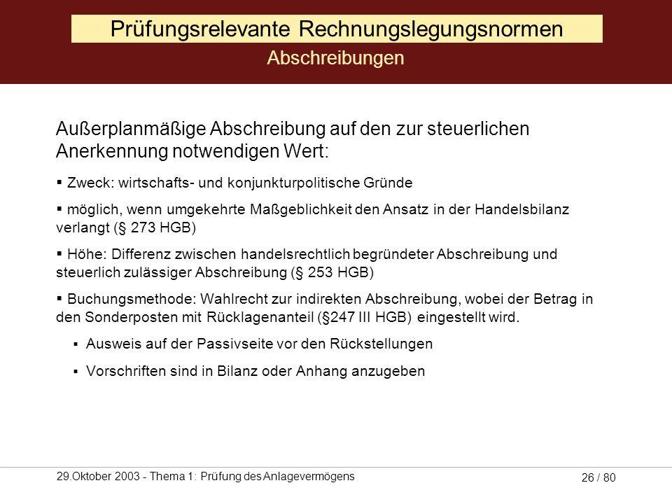 29.Oktober 2003 - Thema 1: Prüfung des Anlagevermögens 25 / 80 Außerplanmäßige Abschreibungen auf den niedrigeren, am Abschlussstichtag beizulegenden