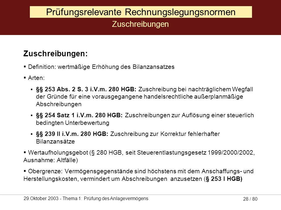 29.Oktober 2003 - Thema 1: Prüfung des Anlagevermögens 27 / 80 Prüfungsrelevante Rechnungslegungsnormen Zuschreibungen (Quelle: Selchert, 1999, S. 38)