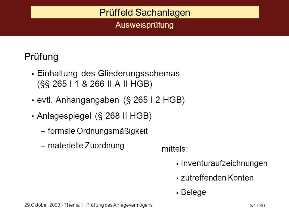 29.Oktober 2003 - Thema 1: Prüfung des Anlagevermögens 36 / 80 Prüffeld Sachanlagen Sachanlagen Grundstücke, grundstücksgleiche Rechte und Bauten eins