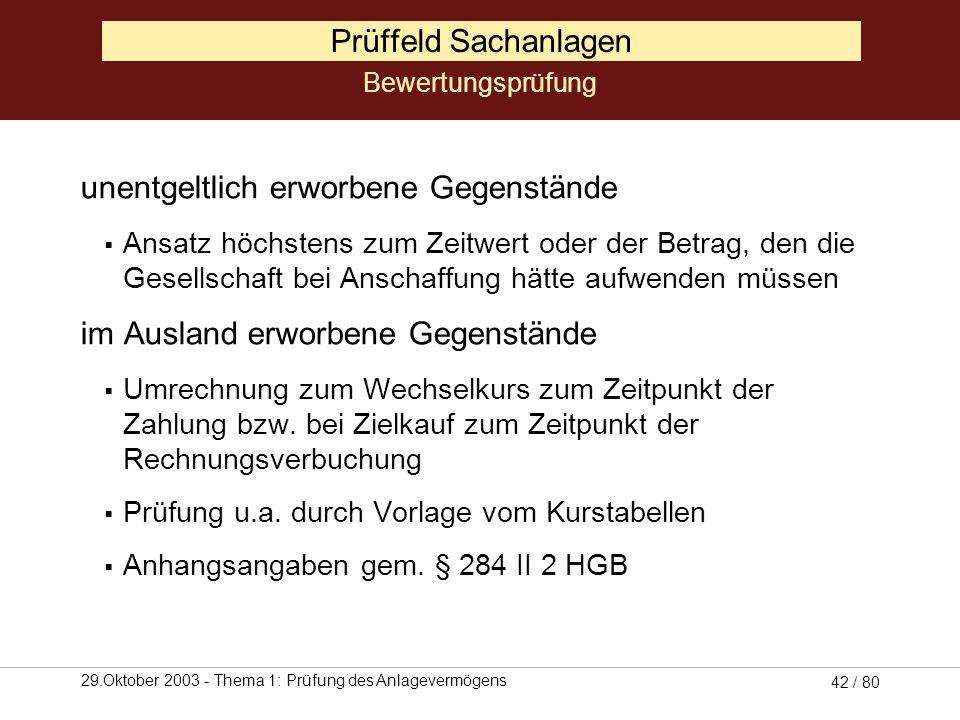 29.Oktober 2003 - Thema 1: Prüfung des Anlagevermögens 41 / 80 Prüffeld Sachanlagen Tauschgeschäfte Zeitwert der neuen Vermögensgegenstände darf nicht