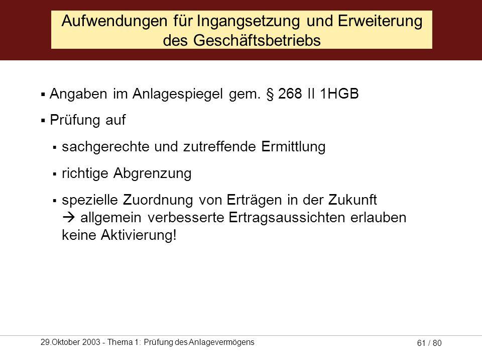 29.Oktober 2003 - Thema 1: Prüfung des Anlagevermögens 60 / 80 Aufwendungen für Ingangsetzung und Erweiterung des Geschäftsbetriebs Aufwendungen aus d