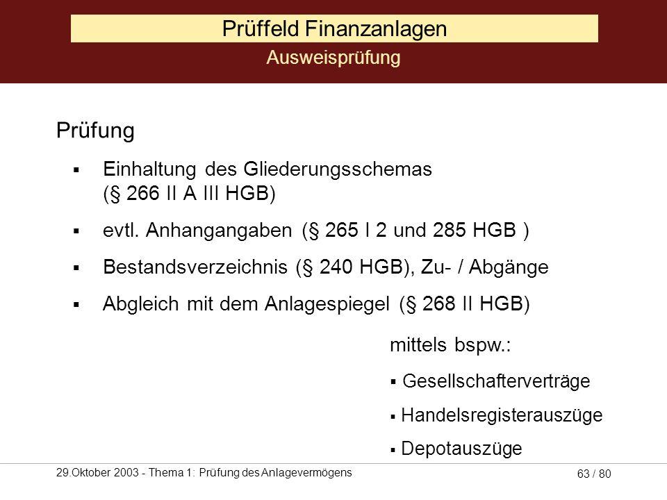 29.Oktober 2003 - Thema 1: Prüfung des Anlagevermögens 62 / 80 Prüffeld Finanzanlagen Ausweisprüfung (Quelle: Coenenberg, 2001, S. 162)