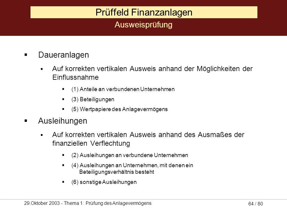 29.Oktober 2003 - Thema 1: Prüfung des Anlagevermögens 63 / 80 Prüffeld Finanzanlagen Prüfung Einhaltung des Gliederungsschemas (§ 266 II A III HGB) e