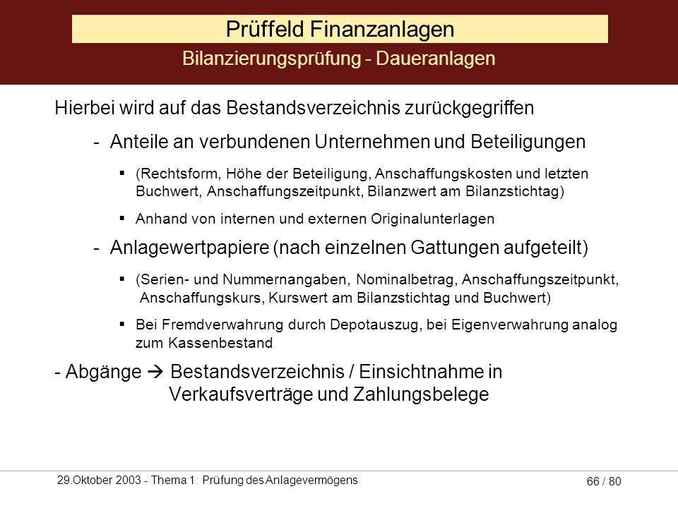 29.Oktober 2003 - Thema 1: Prüfung des Anlagevermögens 65 / 80 Prüffeld Finanzanlagen Besonderes Augenmerk ist auf die korrekte Abgrenzung zum Umlaufv