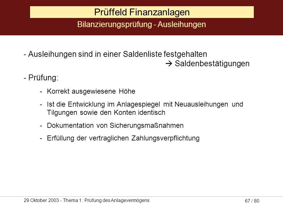 29.Oktober 2003 - Thema 1: Prüfung des Anlagevermögens 66 / 80 Prüffeld Finanzanlagen Hierbei wird auf das Bestandsverzeichnis zurückgegriffen -Anteil