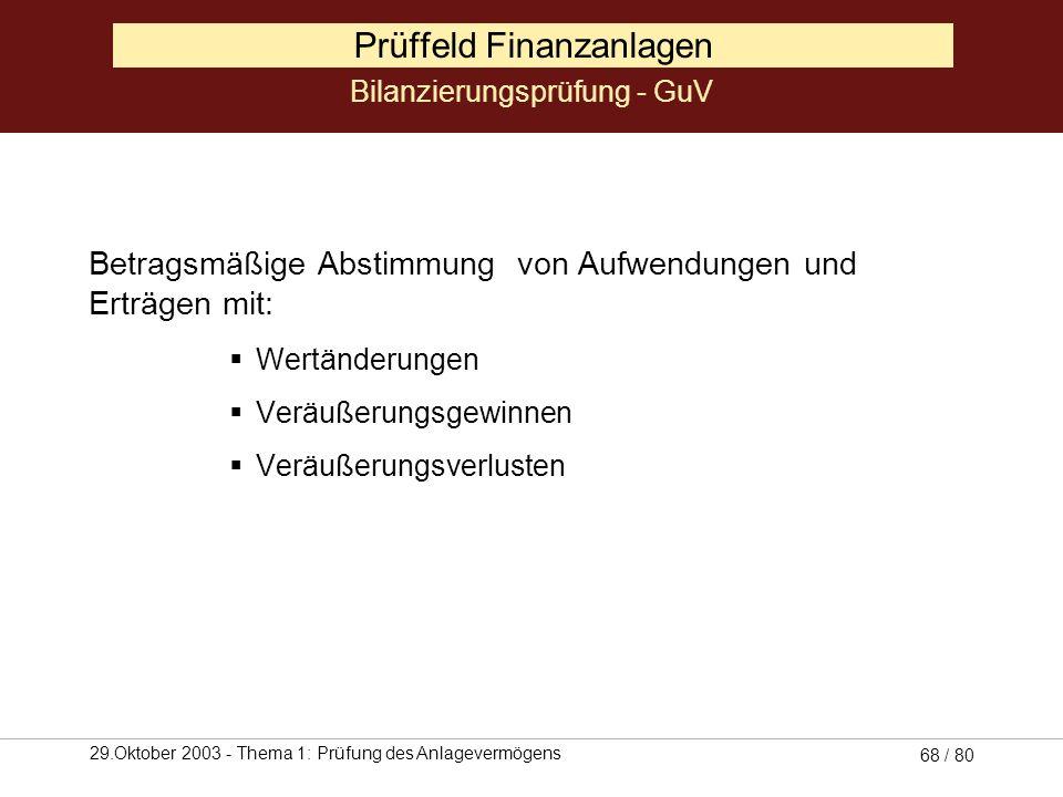 29.Oktober 2003 - Thema 1: Prüfung des Anlagevermögens 67 / 80 Prüffeld Finanzanlagen - Ausleihungen sind in einer Saldenliste festgehalten Saldenbest