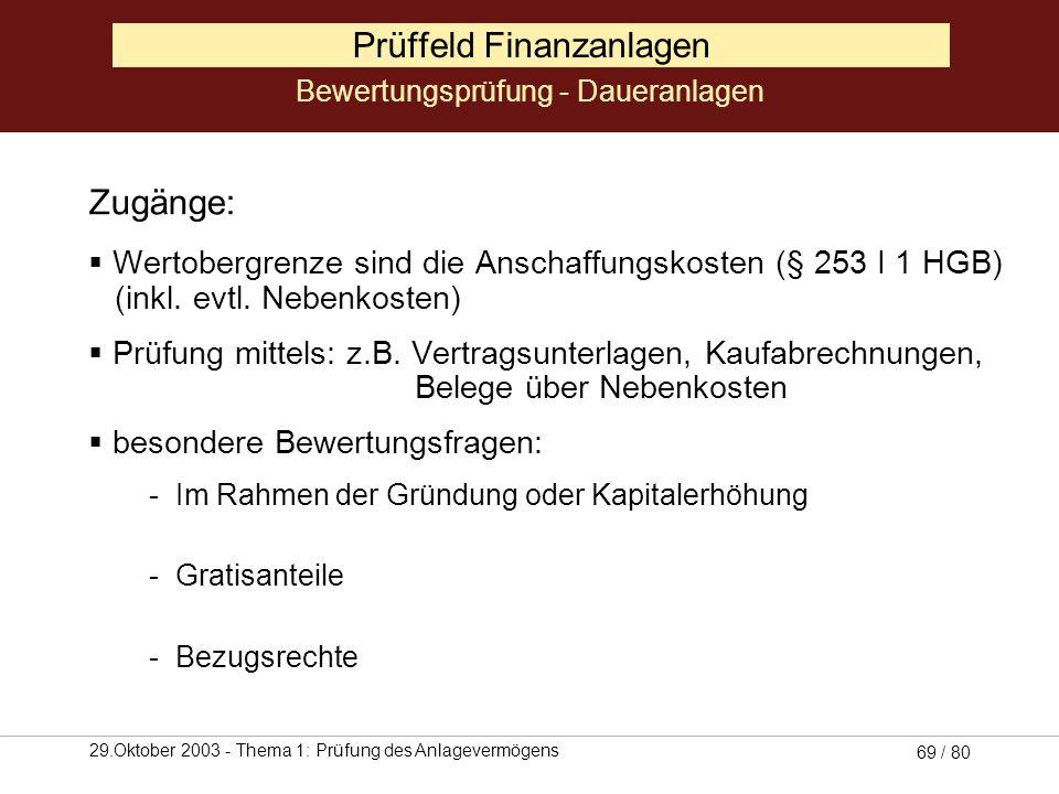 29.Oktober 2003 - Thema 1: Prüfung des Anlagevermögens 68 / 80 Prüffeld Finanzanlagen Betragsmäßige Abstimmung von Aufwendungen und Erträgen mit: Wert