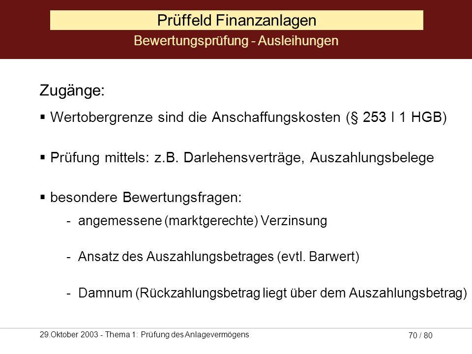 29.Oktober 2003 - Thema 1: Prüfung des Anlagevermögens 69 / 80 Prüffeld Finanzanlagen Zugänge: Wertobergrenze sind die Anschaffungskosten (§ 253 I 1 H