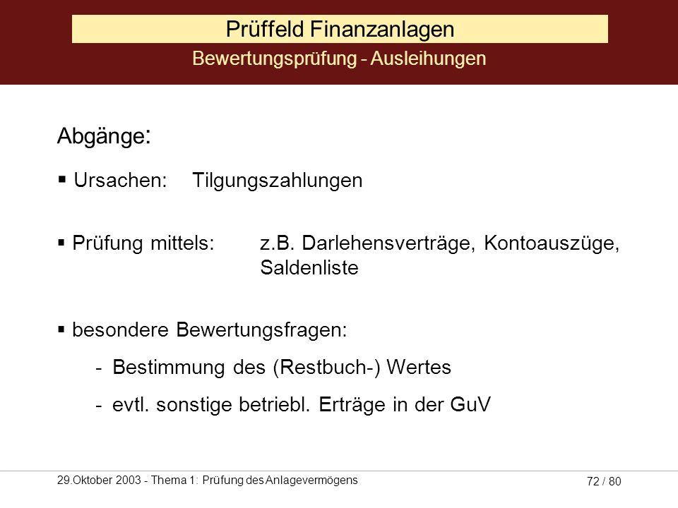 29.Oktober 2003 - Thema 1: Prüfung des Anlagevermögens 71 / 80 Prüffeld Finanzanlagen Abgänge: Ursachen: Liquidation des Beteiligungsunternehmens, Aus