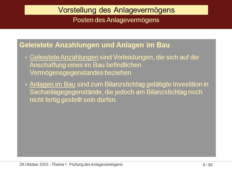 29.Oktober 2003 - Thema 1: Prüfung des Anlagevermögens 7 / 80 I.Immaterielle Vermögensgegenstände 1. Konzessionen, gewerbliche Schutzrechte und ähnlic