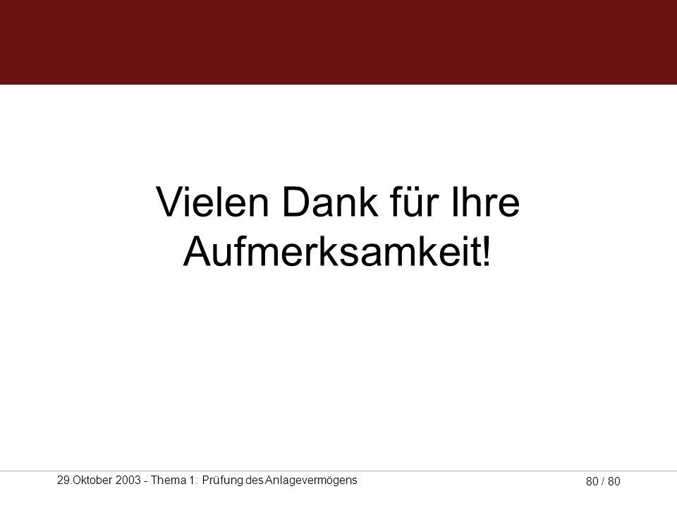 29.Oktober 2003 - Thema 1: Prüfung des Anlagevermögens 79 / 80 Download Unsere Arbeit steht auch im Internet für Sie zum Download bereit: www.accit.de