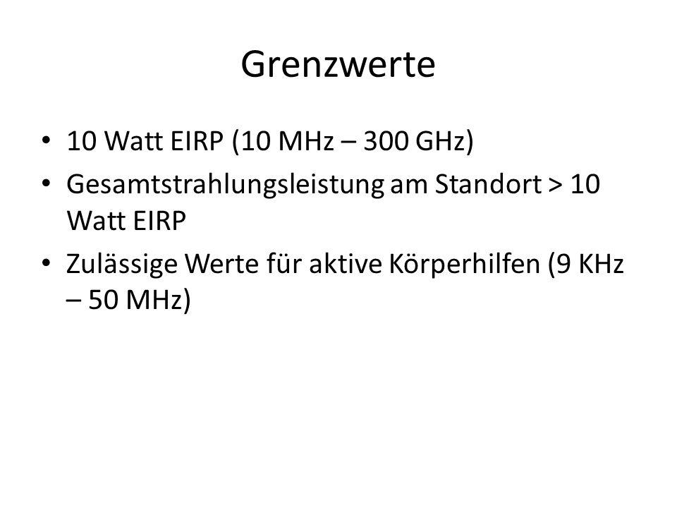 Grenzwerte 10 Watt EIRP (10 MHz – 300 GHz) Gesamtstrahlungsleistung am Standort > 10 Watt EIRP Zulässige Werte für aktive Körperhilfen (9 KHz – 50 MHz)
