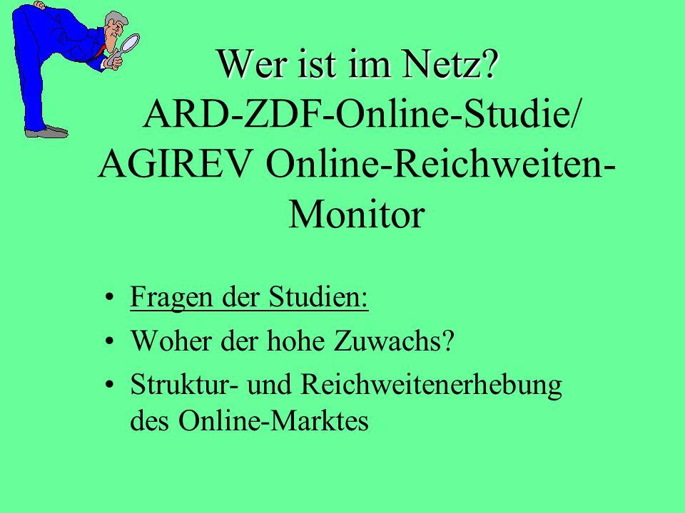Zusammengefasst: Die Hälfte der Deutschen sind Netizens 3 nahezu gleich große Gruppen: Selten-, Gelegentlich- und Häufignutzer hohe Zuwächse bei allen Gruppen, außen vor sind jedoch immer noch: Nicht-Berufstätige (vor allem Rentner) Personen mit niedrigem Bildungsabschluss
